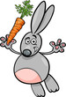 rabbit with carrot cartoon illustration
