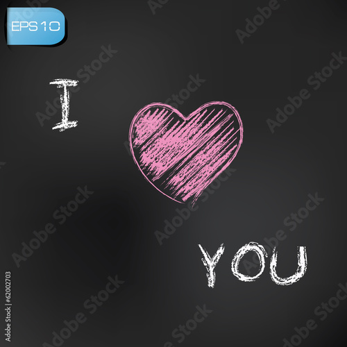 I love you drawing on blackboard background