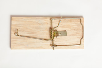 Closeup shot from high point of wooden mouse trap