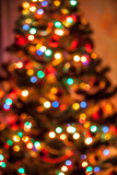 Blurred background of christmas tree with shining lights