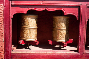 Buddhist prayer wheel. India