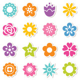 Fototapety set of simple flower stickers in bright colors