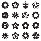 set of simple flower icons in black and white - 62004172