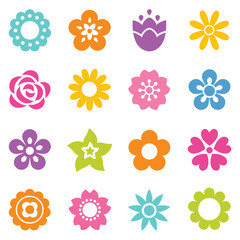 set of simple flat flower icons in bright colors