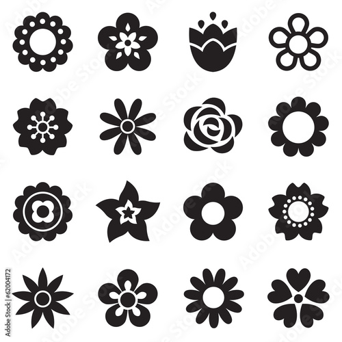 set of simple flower icons in black and white