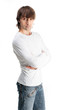 Cute guy in white t-shirt isolated on white background