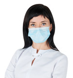 Woman doctor in medical mask isolated on white background