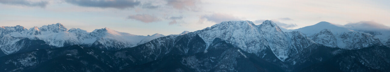 Panoramic view of Tatra Mountain  from Gubalowka Peak on sunset