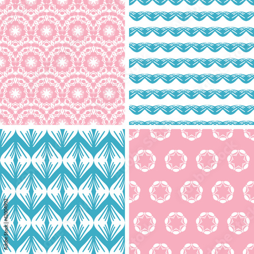 vector four abstract pink blue folk motives seamless patterns