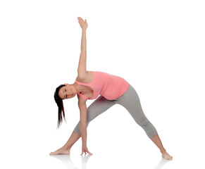 Beautiful pregnant woman doing yoga