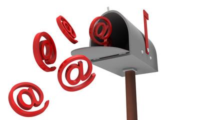 Cassetta delle lettere email su bianco