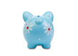 Funny blue piggy-bank View from behind