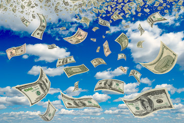 Dollars in the blue sky.