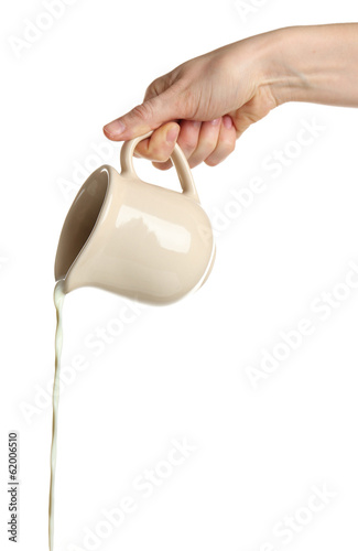 Pouring milk from pitcher, isolated on white