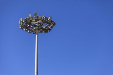 Lighting pole with blue sky