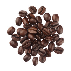 Coffee beans pile isolated on white background close up