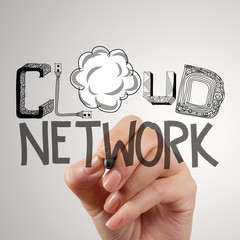close up of hand drawing cloud network as concept