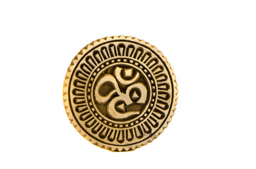 spiritual hindu om sign wooden carved seal
