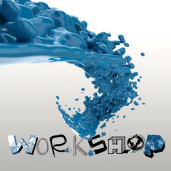 3D paint color splash with design word WORKSHOP as concept