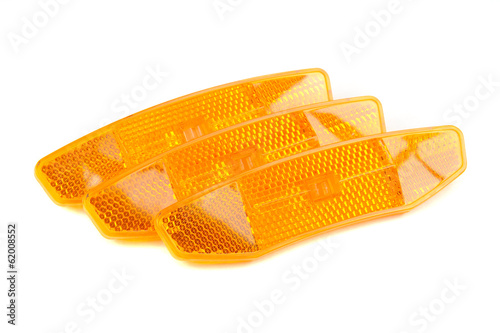 Orange Bicycle Retroreflectors Isolated on White Background