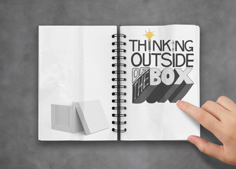 businessman hand drawing design word THINKING OUTSIDE OF THE BOX
