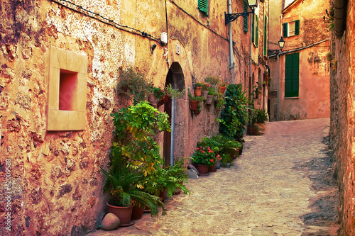 Ancient street in Valldemossa village, Mallorca