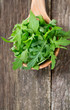rucola in a wooden spoon