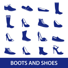 boots and shoes icons eps10