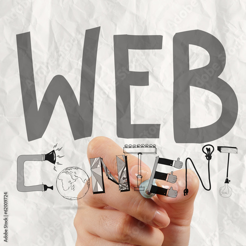 business man hand drawing web content grahic word diagram as con