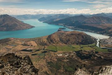 aerial view of lake Wakatipu in New Zealand