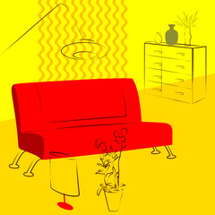 yellow living room red sofa