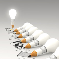 creative design hand drawn EDUCATION  word and light bulb 3d as