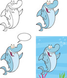 Shark Cartoon Mascot Character 3. Set Collection