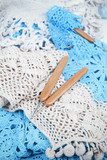 Handmade crocheted lace napkin with hooks