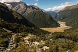 aerial view of mountain huts on Routeburn Track