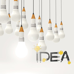 pencil lightbulb 3d and design word IDEA as concept