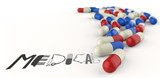hand drawn graphic word MEDICAL and 3d capsule pills as concept