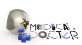 3d virtual medical symbol and text design MEDICAL DOCTOR  as con