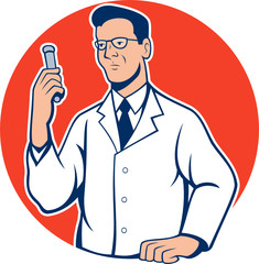 Scientist Lab Researcher Chemist Cartoon