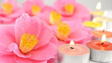 ツバキの花とティーキャンドル