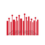 Red Bar code with perspective