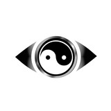 Vision eye logo with harmony symbol