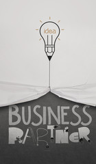 pencil lightbulb draw rope open wrinkled paper show business par