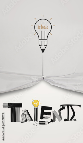 pencil lightbulb draw rope open wrinkled paper show graphic desi