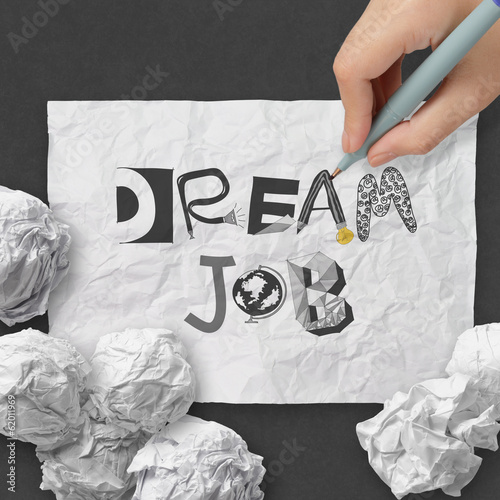 hand drawing design words DREAM JOB as concept