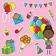 African-American girl with color balloons and birhday elements