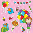 Girl with color balloons and birhday elements