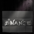 design word FINANCE on dark crumpled paper and texture backgroun
