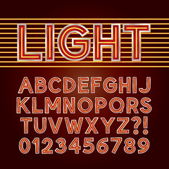 Red Neon Light Alphabet and Numbers, Eps 10 Vector Editable