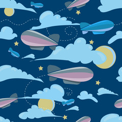 seamless travel pattern of airship, at night